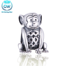 925 Sterling Silver Jewelry Hollow Monkey Charms Children Kid Bracelet Girls GW Brand Jewellery T037
