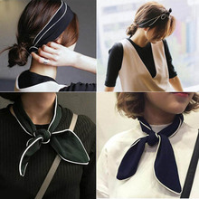 Stylish Girl Lady Chiffon Bunny Ears Rabbit Bow Tie Wired Headband Hair Band Wrap Scarf for Women