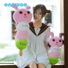 55cm Stuffed Cartoon Colorful Animal Toy Kawaii Lollipop Candy Plush Rabbit Doll Soft Sweety Cotton Rabbit Pillow Birthday Gift