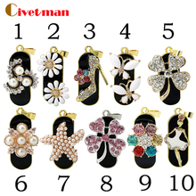 Full Capacity Girl Crystal Stilettos Pearl Flower USB Flash Drive Pen Drive 4GB 8GB 16GB 32GB Memory Stick Drive stars Pendrive