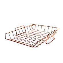 Rose Golden Office School Supplies Desk Accessories Organizer File Tray Mesh Wire Metal Document Tray Stackable File Tray(China)