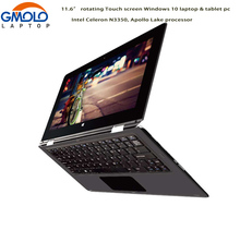 "11.6"" rotating touch screen laptop 4GB 32GB & HDD N3350 Apollo Lake dual core super slim Windows 10 ultrabook notebook"