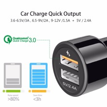 IBD 3.0 Car Charger 30W Dual USB Ports With 1m USB 3.0 Cable Quick Charge 3.0 5V/2.4A For Iphone, Samsung Galaxy, Huawei, Xiaomi
