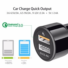 IBD 3.0 Car Charger 30W Dual USB Ports With Cable Quick Charging For Iphone, Samsung Galaxy, Huawei, Xiaomi Phone Charger USB3.0(China)