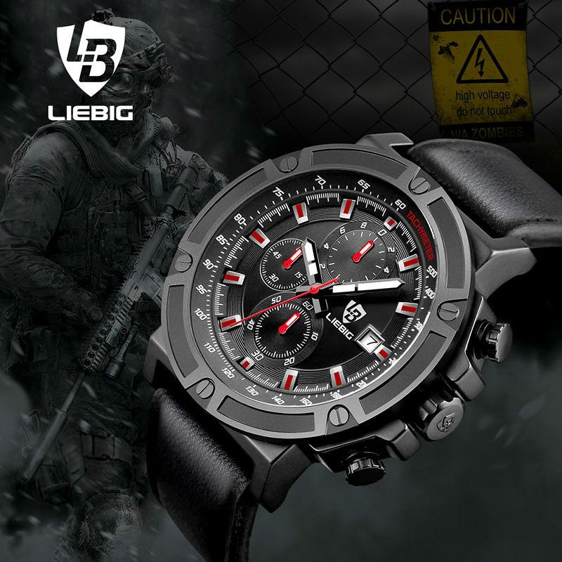 LIEBIG Men Quartz Watches 50M Waterproof Sports Wristwatches Military Leather Watch Fashion W Relogio Masculino ZHG161014<br>