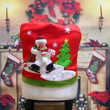 1pc Skiing Santa Claus Christmas Backrest Chair Cover Set Xmas Party Decor Chairs Dinner Party Skiing Style YL880650