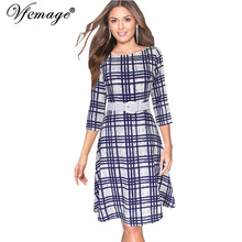 Vfemage Womens Elegant Vintage 3/4 Sleeves Tartan Belted Casual Work Business Party Fit and Flare Swing Skater A-Line Dress 6601(China)
