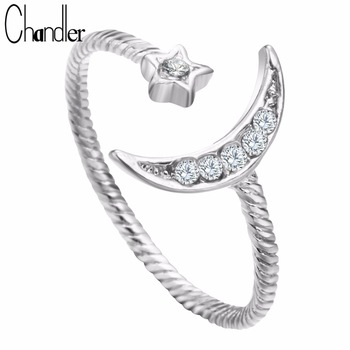 Gold Silver Plated Moon Star Rings With CZ Crystal Twist Adjustable Wedding Band Simple Knuckle Finger Lord Love Bague For Women