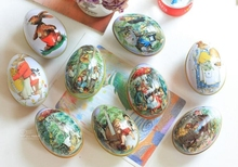 200PCS Easter Egg Painted Eggshel Tin Boxes Pills Case Wedding Can Jewelry Party Accessory Iron Trinket Gift