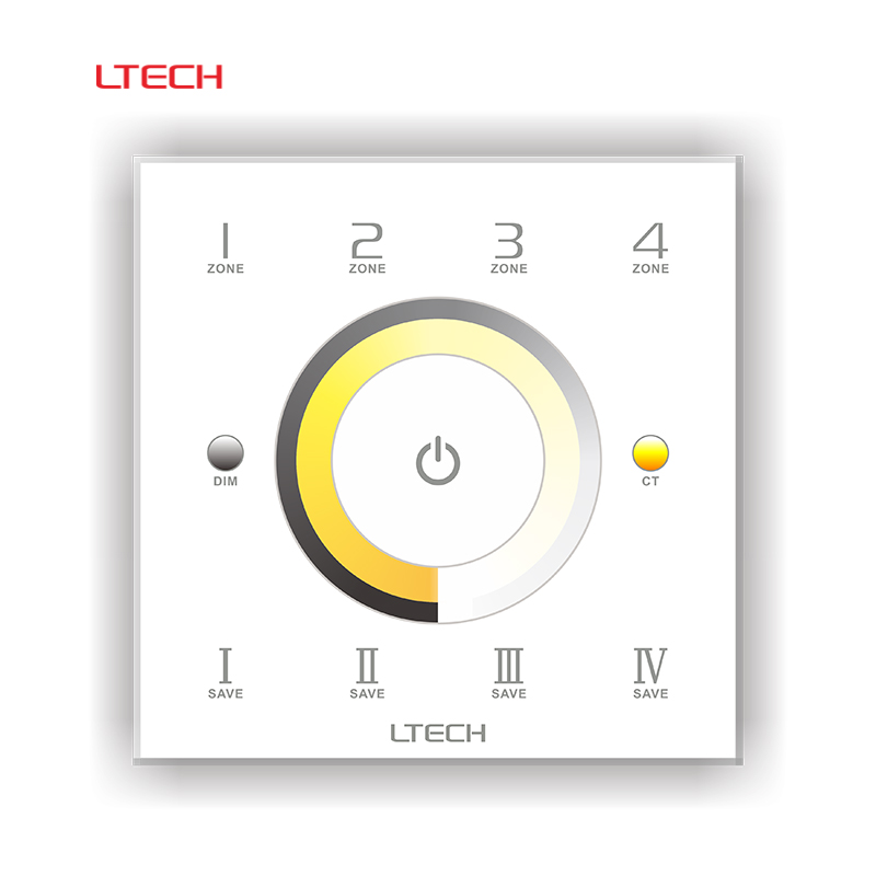 LTECH DX7 AC110-240V 220V Touch Panel Wall Mount LED Color Temperature  CT Controller 2.4G Wireless 4 Zones Control DMX512 <br>