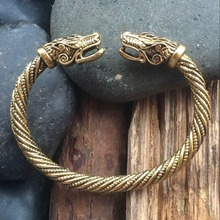 Bronze 1pc Handmade Top Quality Twisted viking BRACELET with a Dragon Wrist Dragons 7Colors norse viking Bangle(China)
