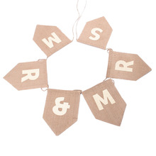 MR MRS Vintage Natural Burlap Bunting Banner with 6 Flags for Wedding Party Decor