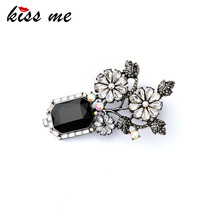 Geometric Crystal Flowers Brooch Pins New Design Online Store Women Accessory Factory Wholesale(China)
