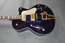 Custom shop Top Quality GT G6120 dark blue color Jazz electric guitar with bigsby bridge,Special offer GUITAR,Free shipping