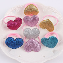 2017 LOVE HEART pink 6 COLORS kids Elastic Hair Bands 6 colors mix hair accessories for girls Ponytail holder 1pcs XA011(China)