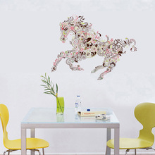 pvc pattern horses sticker Transparent personality background import Living room bedroom TV background home decor  wall sticker