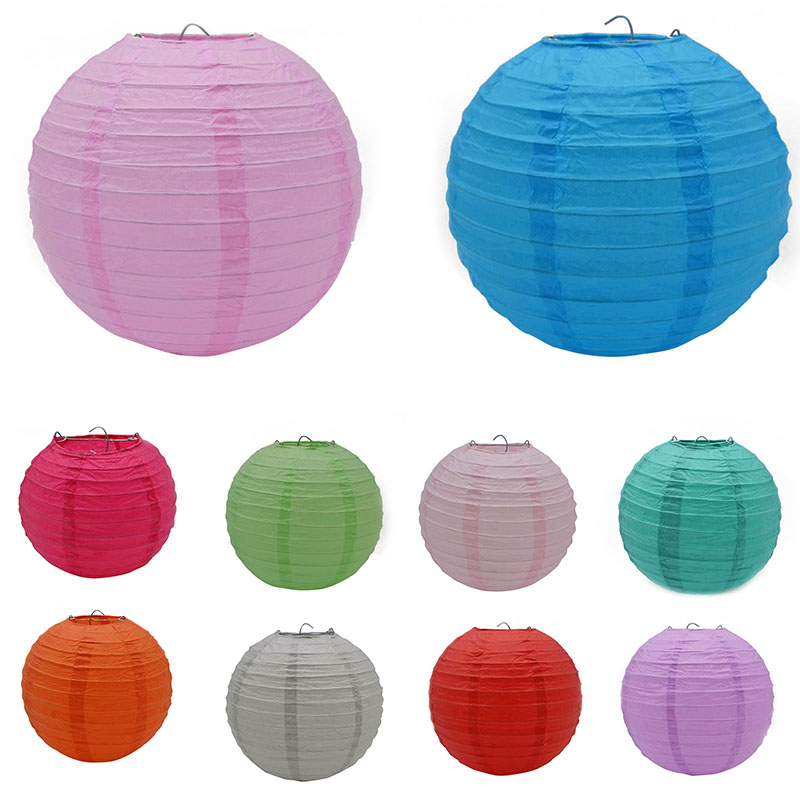 5 Sizes Chinese Paper Lantern Artificial Round Ball DIY Handmade Paper Craft Wedding Party Decor Hanging Lantern Home Decor 7Z