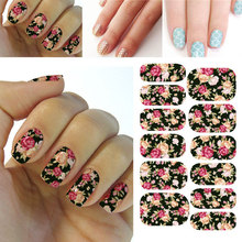 3D Flower Nail Art Stickers Decals For DIY UV Gel Polish Nail Tips Nail Sticker Black Floral Sweet Styling Decals Tools Hot(China)