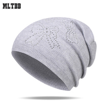 MLTBB 2017 Fashion Winter Hat Simple Women Knitted Hat Casual Female Hat With Pattern Solid Soft Women Cap Warm Wool Cap(China)