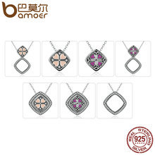 BAMOER Real 925 Sterling Silver Pink & Red Heart with Square DIY Pendant Necklaces Women Multifunctional Jewelry SCN055