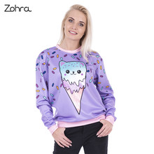 Zohra New Arrival Kitty Ice Cream Printed Hoodies Sweatshirt for Women Sleeve Causal Cozy Sudaderas Mujer Pullovers Sweatshirts