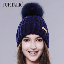 FURTALK fox fur pom pom hat winter women fur hat knit fashion winter hat