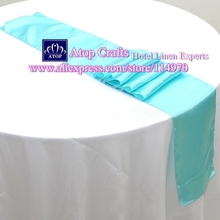 Free shipping 30pcs 30 x 275cm Aqua Blue Satin Table Runners For Wedding Banquet Party Decorations Event Hotel Supplies
