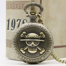 Cool Janpanese Anime One Piece Skull Design Bronze Quartz Fob Pocket Watch with Necklace Chain for Boys Men Gift(China)