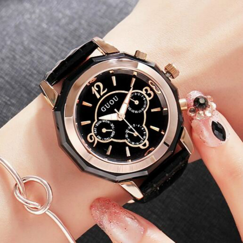 HK Fashion Design Women Watches GUOU Brand Wrist Leisure simple Trendy Ceramics Quartz Wristwatch Waterproof calendar Watches<br>