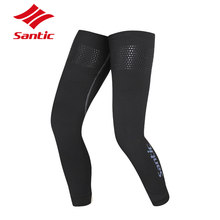 Santic 1 Pair Cycling Leg Warmers Outdoor Sports Autumn Winter Warm Leg Sleeve Knee Warmers Anti-UV Running Gambali Ciclismo(China)