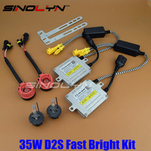 Premium Upgrade Fast Start Quick Bright AC 35W D2S HID Xenon Kit With F3 Digital Slim Ballast Reactor Block ignition Bulbs(China)