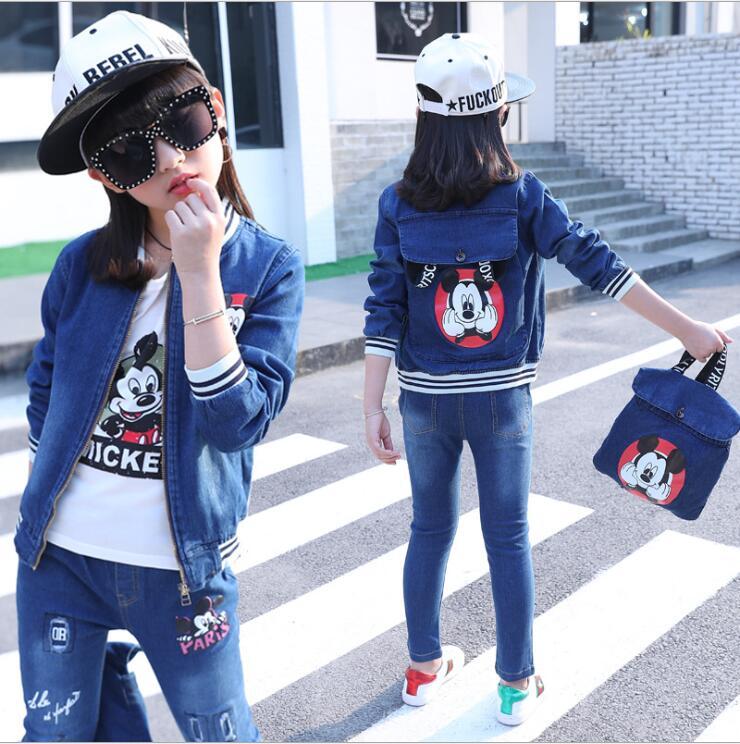 Fashion Clothing Mickey Kids Cowboy  Suit Children Girls Sports Denim Clothes Unisex Letter Denim Jacket +T-shirt +Pant 3pcs <br>