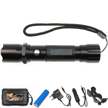 High Power Police Torch Rechargeable 18650 Battery 3 Modes Waterproof Lanterna Self Defense Tactical Flashlight+Charger+Battery