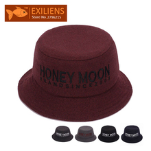 [EXILIENS] 2017 Fashion Brand Bucket Hats Cotton HONEY Casual Fisherman Caps Hip-hop Hats For Men Women Lovely Black Red Hat