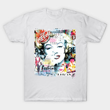 2017 Latest High Quality Modal Fashion Movie Star Actress Style Beauty Print T-Shirt Homme Marilyn Monroe T Shirt Brand Tee Tops