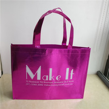 Wholesale 500pcs/lot custom printed one color logo promotional pink non woven bags reusable boutique packing tote shopping bags
