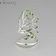 Moonmory 925 Sterling Silver Sprouting Little Tree Open Ring For Women Adjustable Size Tree Shaped Wrap Ring With Enamel Jewelry(China)