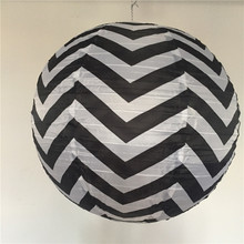30pcs/lot 18inch Chinese Round Black Chevron Print Silk Lanterns Halloween Wedding Party Decorations