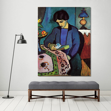 HDARTISAN Expressionism Canvas Art August Macke Reading Book Modern Oil Painting Wall Pictures For Living Room Home Decor(China)