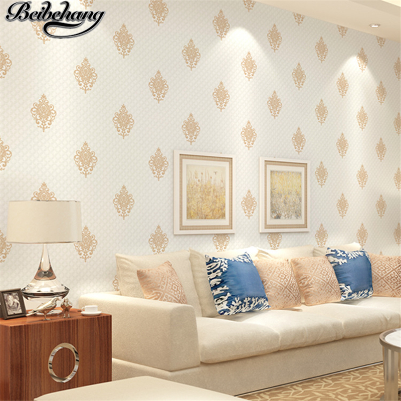 beibehang European-style 3d relief wallpaper non-woven Damascus wallpaper living room bedroom KTV hotel backdrop wallpaper<br>