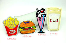 MIX4PCS Embroidered hamburge Iron On Patches For Clothing Appliques Kids Clothes sew-on Patch Fabric Badges Apparel Accessories