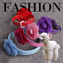 "Flower Cat Collar Necklace PU Leather Dog Pet Personalized Collars Pink Red Purple Blue Rose Neck for 30-51CM""(China)"