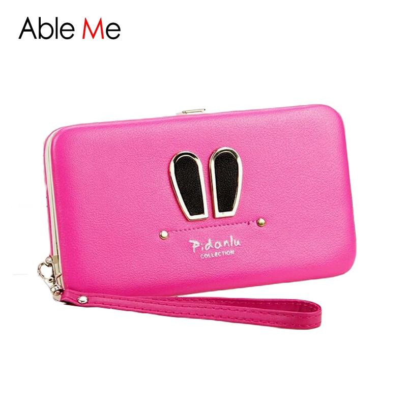 Cute Rabbit Ears Women Purse Large Capacity Card Holder Wallet Girls Mobile Phone Bags Long Style Buckle Purses Women Wallet<br><br>Aliexpress