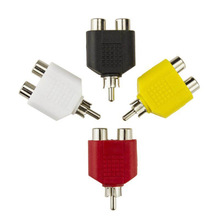 4 Pcs/lot RCA Y Splitter AV Audio Video Plug Converter 1 Male to 2 Female Adapter Kit Lotus Color AV Jack  RCA Plug To Double