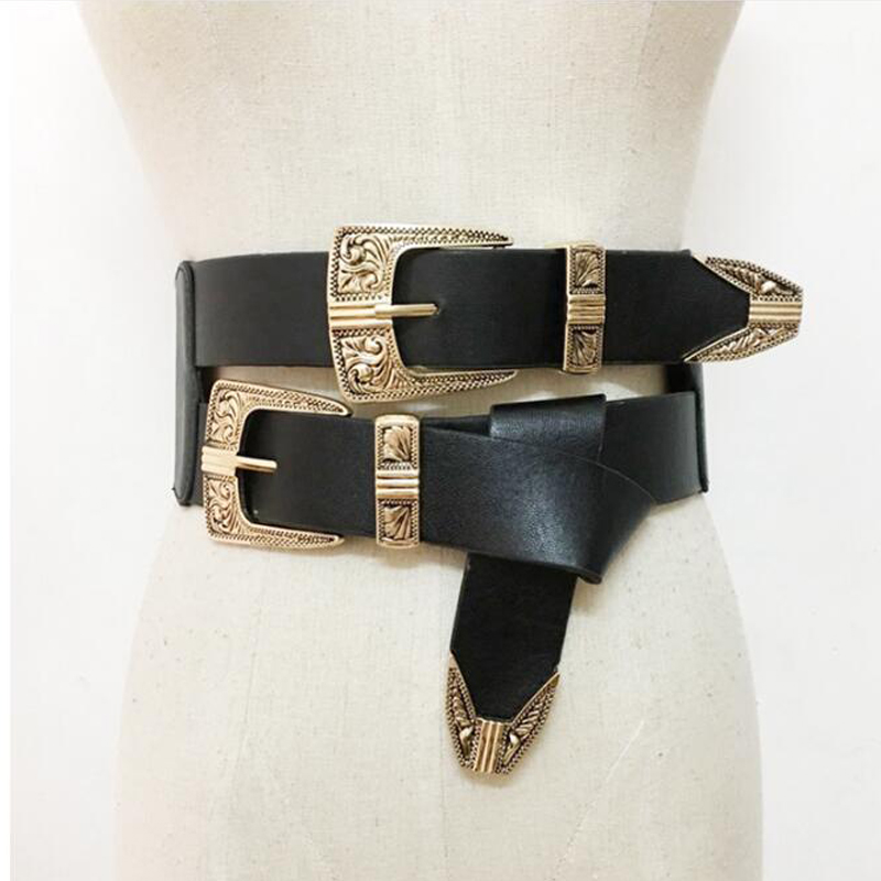 Female Vintage Metal Pin Buckle belts cool Casual dress accessories double Buckle Designer Leather Belt Strap For Women
