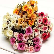 Cute Lovely Artificial Silk Rose Babysbreath Fake Flower For Wedding Party Decor Bridal Bouquet(China)