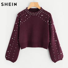 SHEIN Bishop Sleeve Pearl Beading Crop Sweater Burgundy Woman Sweater Pullovers Autumn Long Sleeve Elegant Pullovers(China)