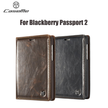 CaseMe Brand For Blackberry Passport 2 II Case Luxury leather craft phone Cover Wallet Magnet Flip Stent Card slot Cases