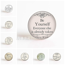 Oscar Wilde Shakespeare Nietzsche Inspirational Quote Handmade Pendant 25mm Glass Cabochon Jewelry Accessories(China)