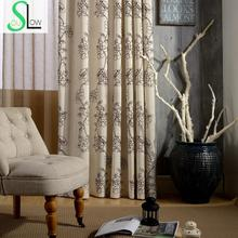 Outline Flower New Series Three Cotton Embroidered Curtain French Window Floral Curtains Cortinas For Living Room Bedroom(China)